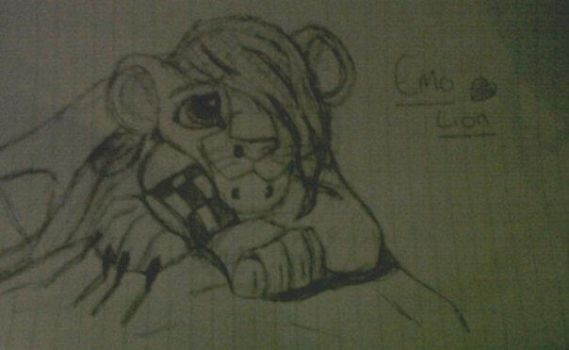 Old drawing just a Disney emo lion by redwolfyrose