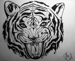 Tribal Tiger. by BlueMelonOwl