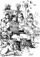 Conan and Girls by Aldagon