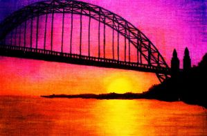 Yaquina Bay Oregon Bridge Acrylic Painting by nandamicole