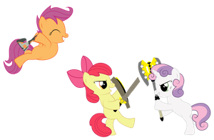 Cutie Mark Crusaders Mock Battle by REPLAYMASTEROFTIME