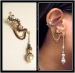 Steampunk Pearl ear cuff by Meowchee