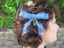 Crocheted Lace Hairbow with Vintage style Key by crazynina
