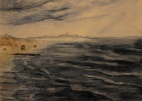 Stormy Weather On The Sea - watercolor by Oksana007