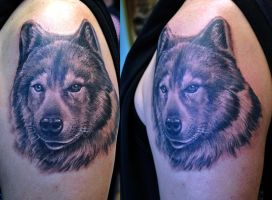Wolf tattoo realistic by gettattoo