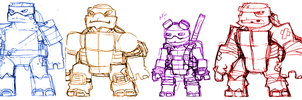 TMNT Rough Sketches by Hologramzx