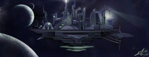 Floating City Matte Painting by mribby294