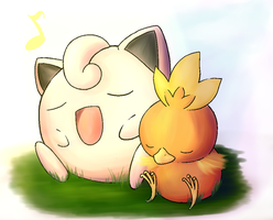 PKM - Jiggly and Torchic by KiiroiTanuki