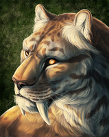 Smilodon Painting by Simkaye