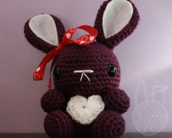 Purple Valentine's Day Bunny - for sale on Etsy by theyarnbunny