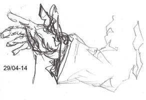 Rough Sketch Bleeding Hand by Jeppe Roemer by TolkyJr