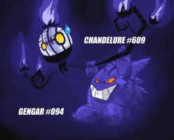 Chandelure and Gengar by Capitan-Mark-Antony