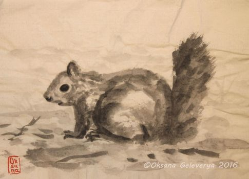 Squirrel - sumi-e, ink painting by Oksana007