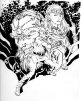 Link, Zelda and Ganondorf - commission by SpiderGuile