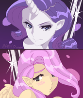 Rarity and Fluttershy- PSWG by Yamino