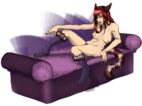 Commission [Pinup Miqo'te] by Pianodream