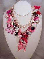 Punky in Pink Dual Chain Charm Necklace by PoniesOfDOOOM