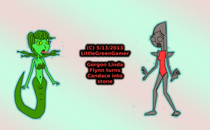 Gorgon Linda Flynn turns Candace into stone by LittleGreenGamer
