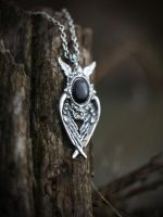 Antiqued Silver Black Gothic Wings Pendant by Johanna-Ferrius