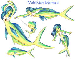Mahi Mahi Mermaid Sketches by angelfish1021