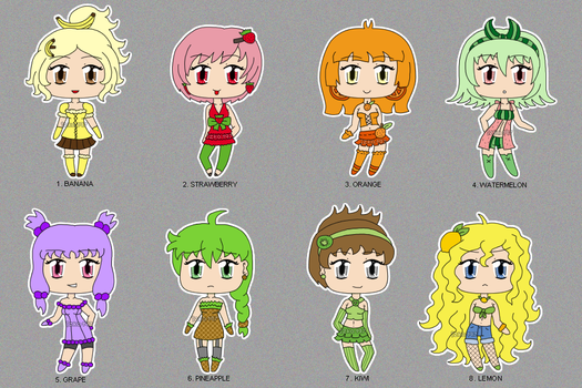 [CLOSED] Chibi Fruit Adoptables by izka197