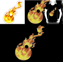 Flaming Guitar T-shirt by SEspider