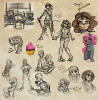 30 Day Sketch Challenge - Week 1 by Vivifx