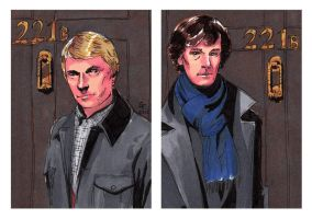 Watson and Holmes Sketch Cards by febbik