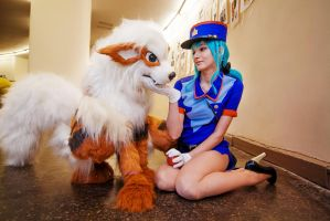 Officer Jenny and Arcanine by Bad-Llama