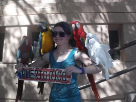 Me and Four Parrots in Puerto Rico by QuarterHorseGirl