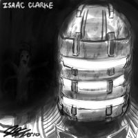 Issac Clarke Head Sketch by johnjoseco