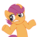 Shrugpony Scootaloo, face 2 by MoongazePonies