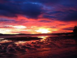 Sunset over the Beach. Lowtide. by LittleBird-FlyAway12