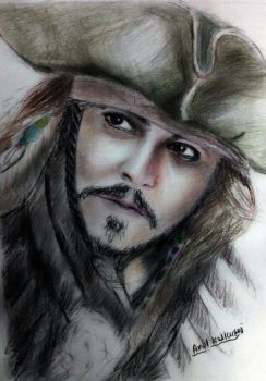 Jack Sparrow color drawing by amolkulkarni107