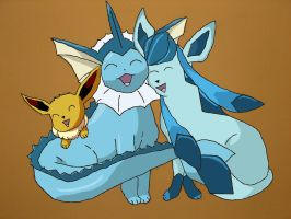 Eevee, Vaporeon and Glaceon by mufcchimp