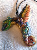 Fimo/polymer detailed dragon necklace by BlueIrisFlower