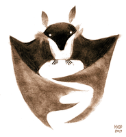 Fruit bat sketch by sketchinthoughts