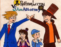 TheRunawayGuys: Professor Layton Vs. Ace Attorney by ThatOneNPC