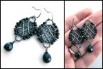 silver and onyx earrings by annie-jewelry