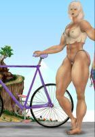 muscle woman cyclist by MuscleWomen-Planet