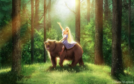 The bear and maiden fair by Mospineq