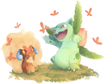 Contest - Whimsicott and Ivysaur by katiepox