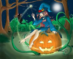 Witch and punkin by melaniehitomi