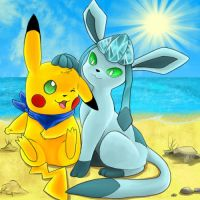 Glaceon and Pikachu at the beach by pikachu-jaune