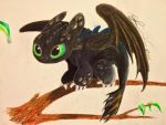 Baby Toothless Perched and Curious by EveSinclair