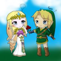 Precious Link and Zelda by chibana08