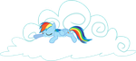 Happy and Sleepy Rainbow Dash with Cloud by uxyd