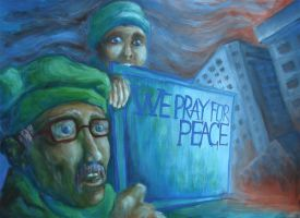 praying for peace by Forgettible