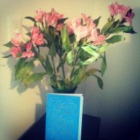My graduation flowers and card by 3Rockstar3
