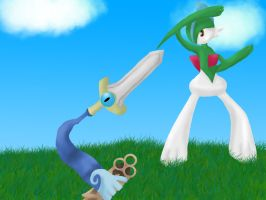 Honedge vs. Gallade by Minthia